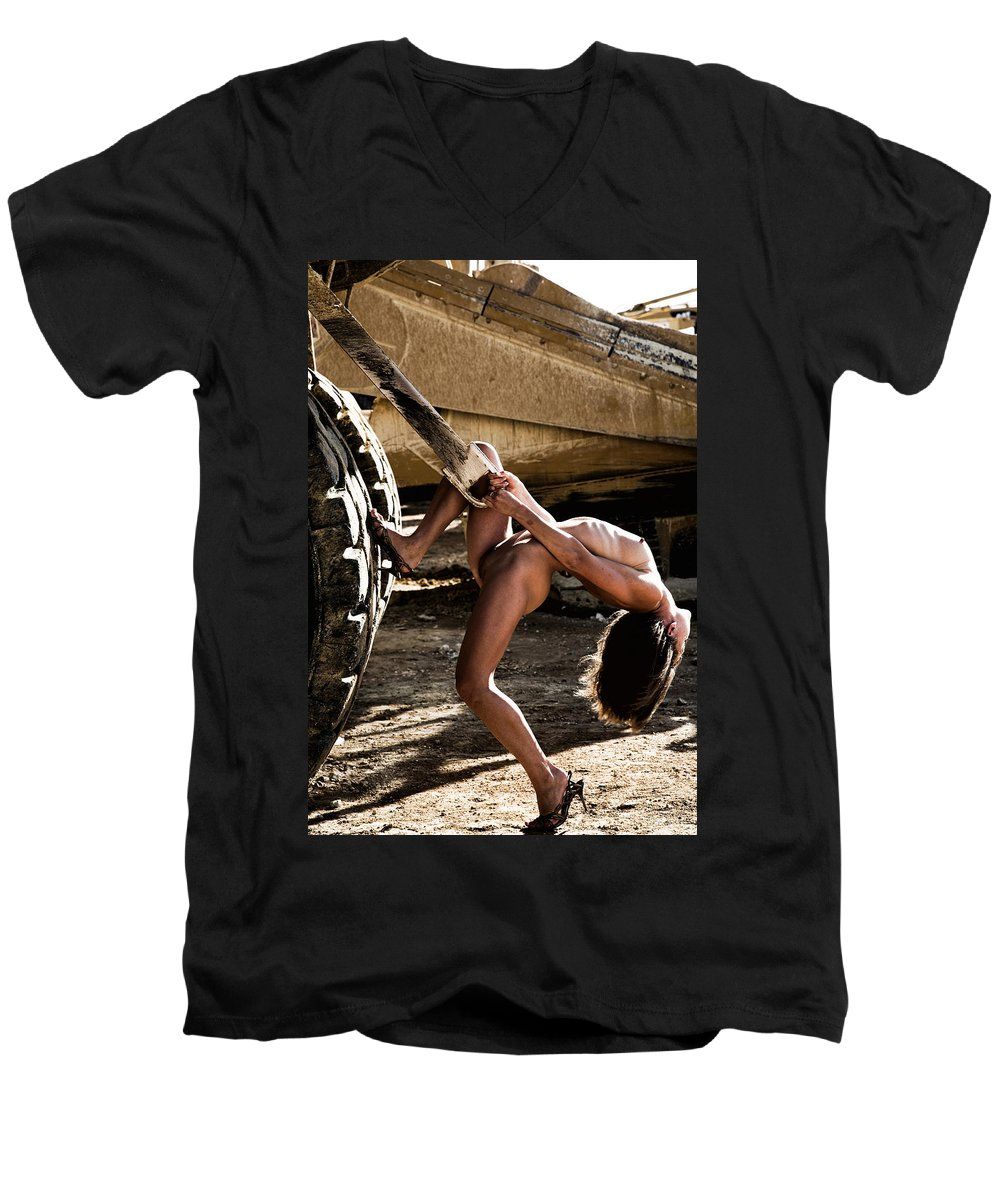 Sensual Men's V-Neck T-Shirt featuring the photograph Machinery by Olivier De Rycke