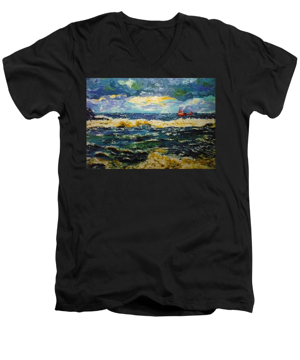 Sea Men's V-Neck T-Shirt featuring the painting Mad Sea by Ericka Herazo