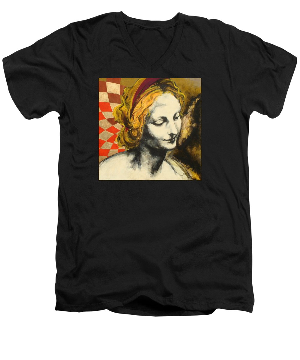 Pop Men's V-Neck T-Shirt featuring the painting Madona Face by Jean Pierre Rousselet
