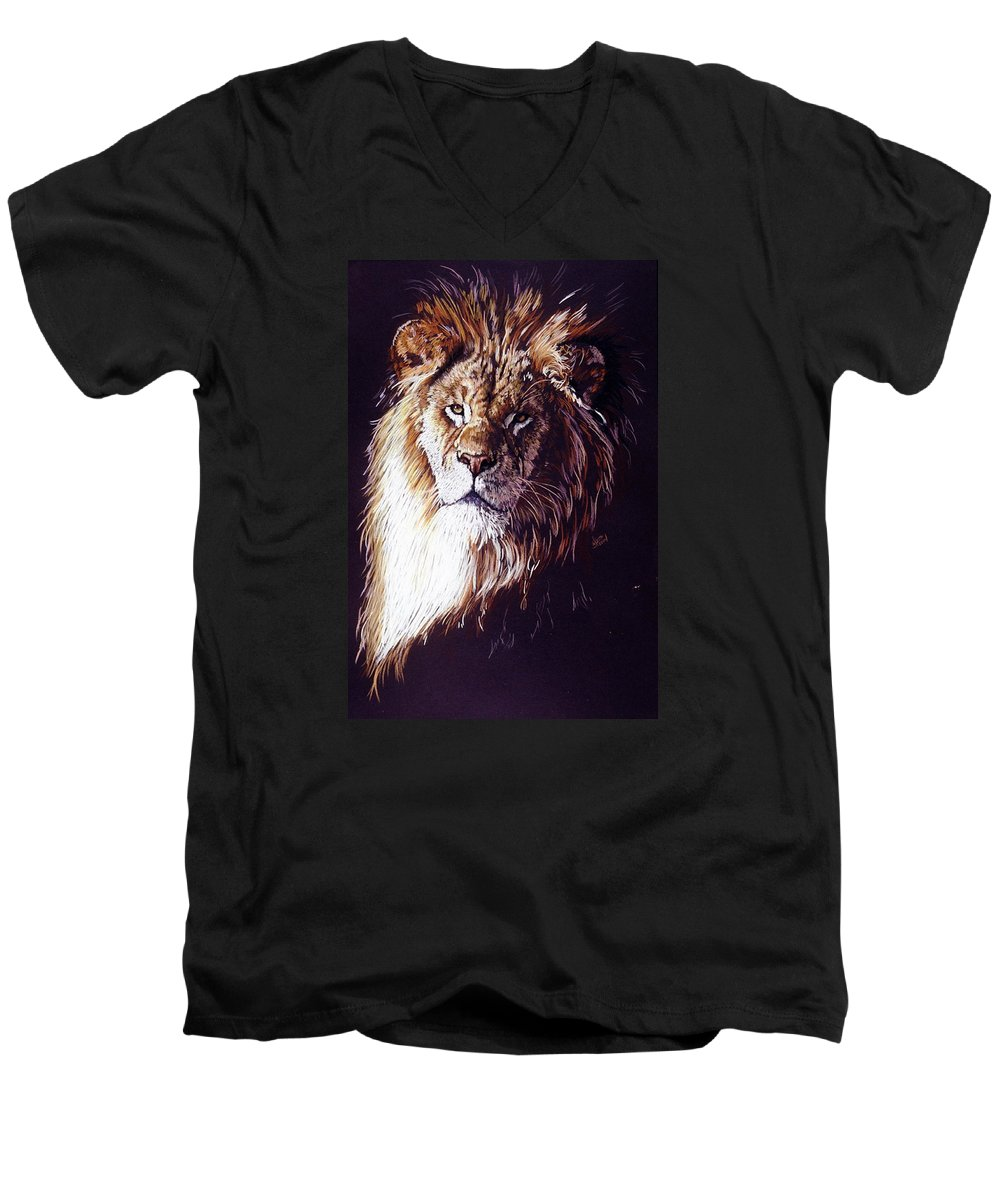 Lion Men's V-Neck T-Shirt featuring the drawing Maestro by Barbara Keith