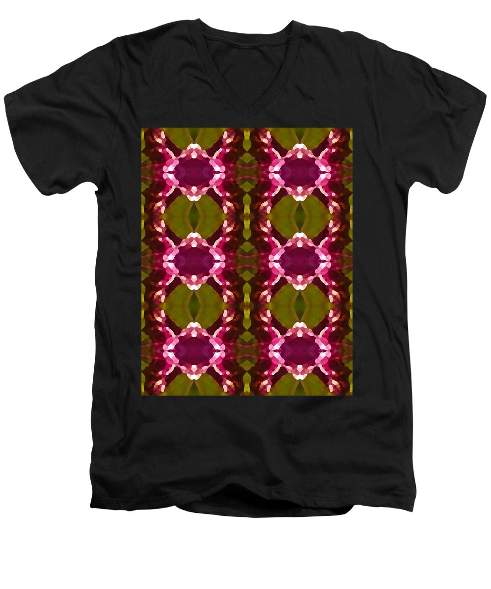 Abstract Men's V-Neck T-Shirt featuring the painting Magenta Crystal Pattern by Amy Vangsgard