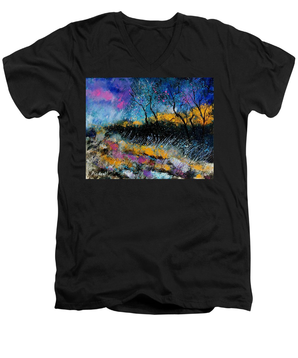 Landscape Men's V-Neck T-Shirt featuring the painting Magic Morning Light by Pol Ledent