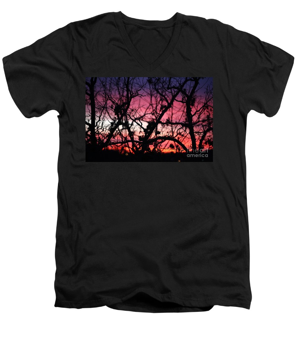 Sunset Men's V-Neck T-Shirt featuring the photograph Magnificent Sunset And Trees by Nadine Rippelmeyer