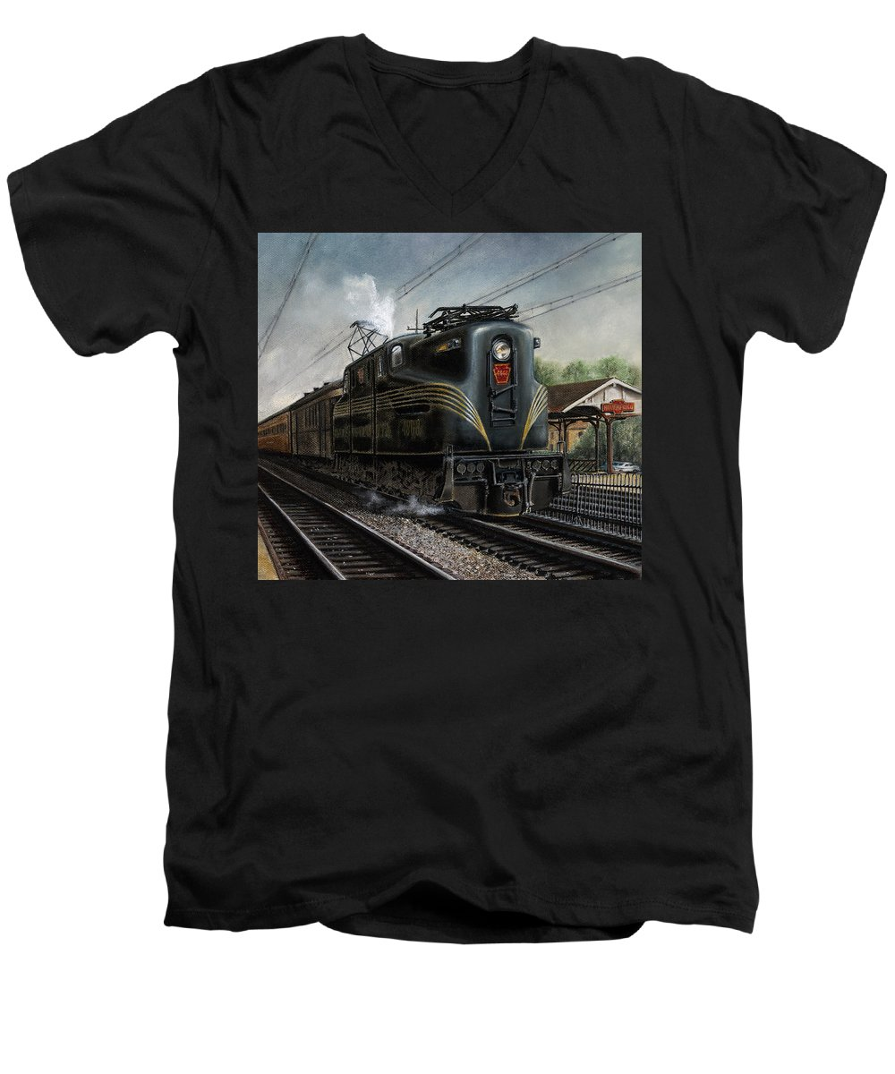 Trains Men's V-Neck T-Shirt featuring the painting Mainline Memories by David Mittner