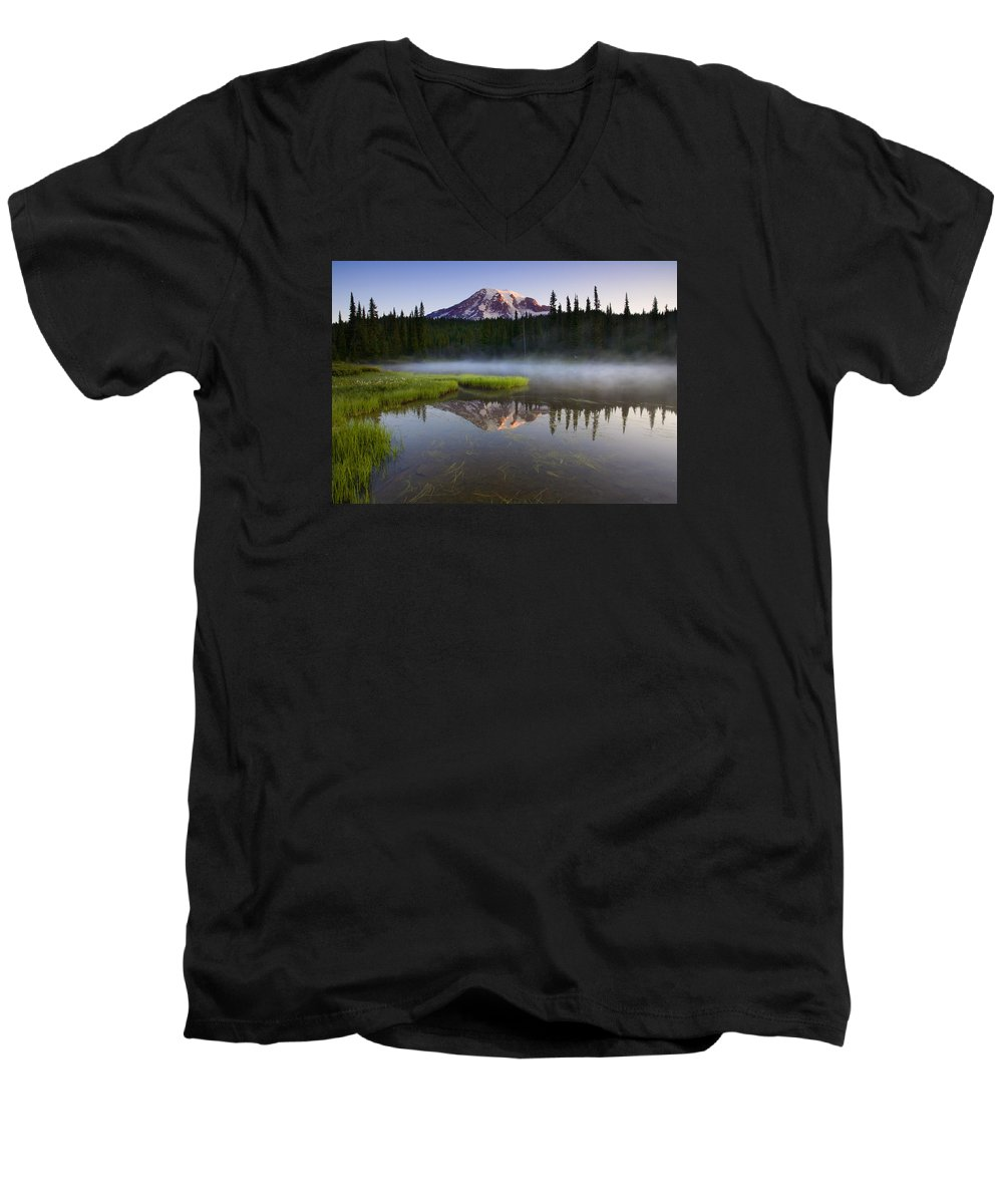 Lake Men's V-Neck T-Shirt featuring the photograph Majestic Dawn by Mike Dawson