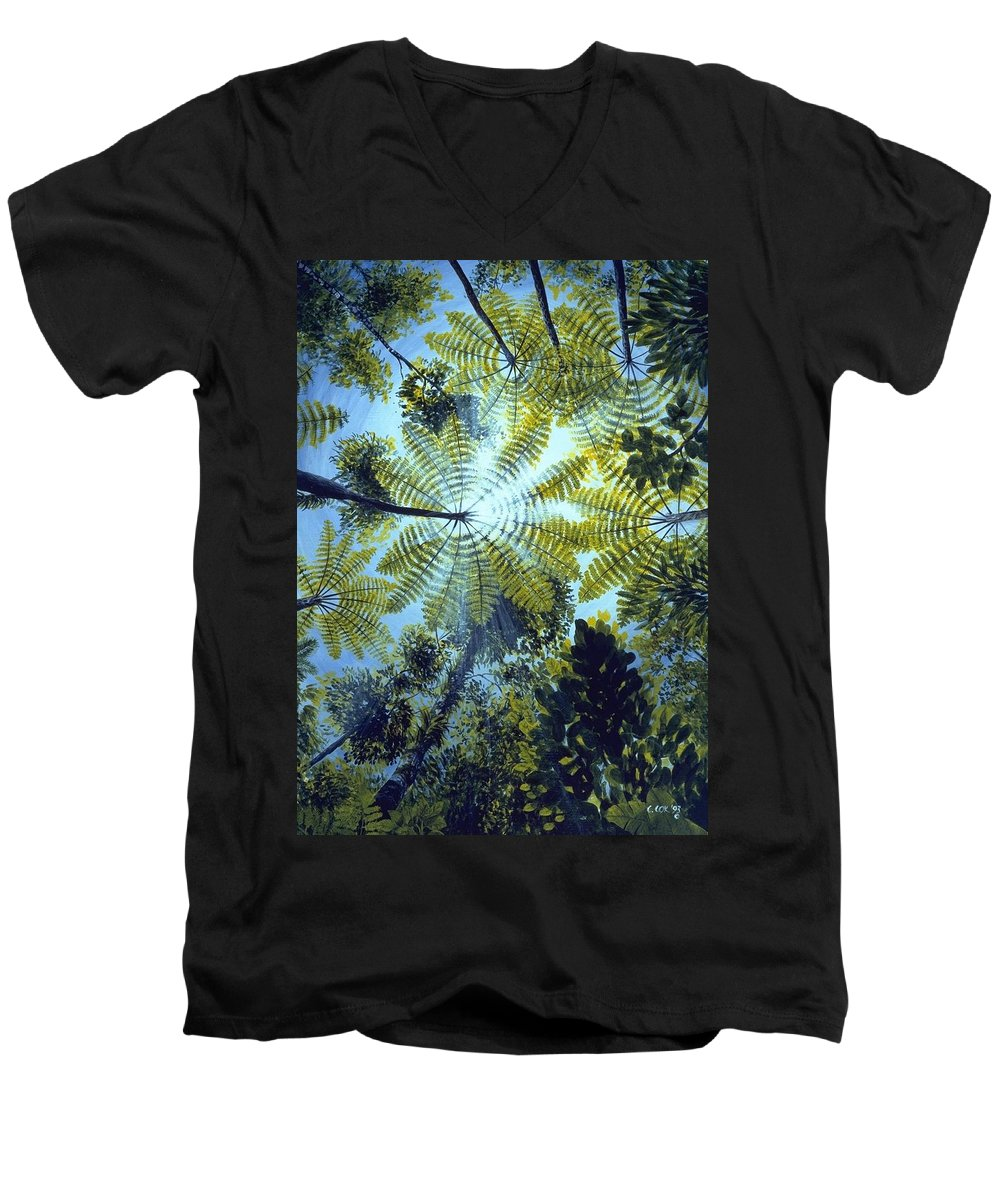 Chris Cox Men's V-Neck T-Shirt featuring the painting Majestic Treeferns by Christopher Cox