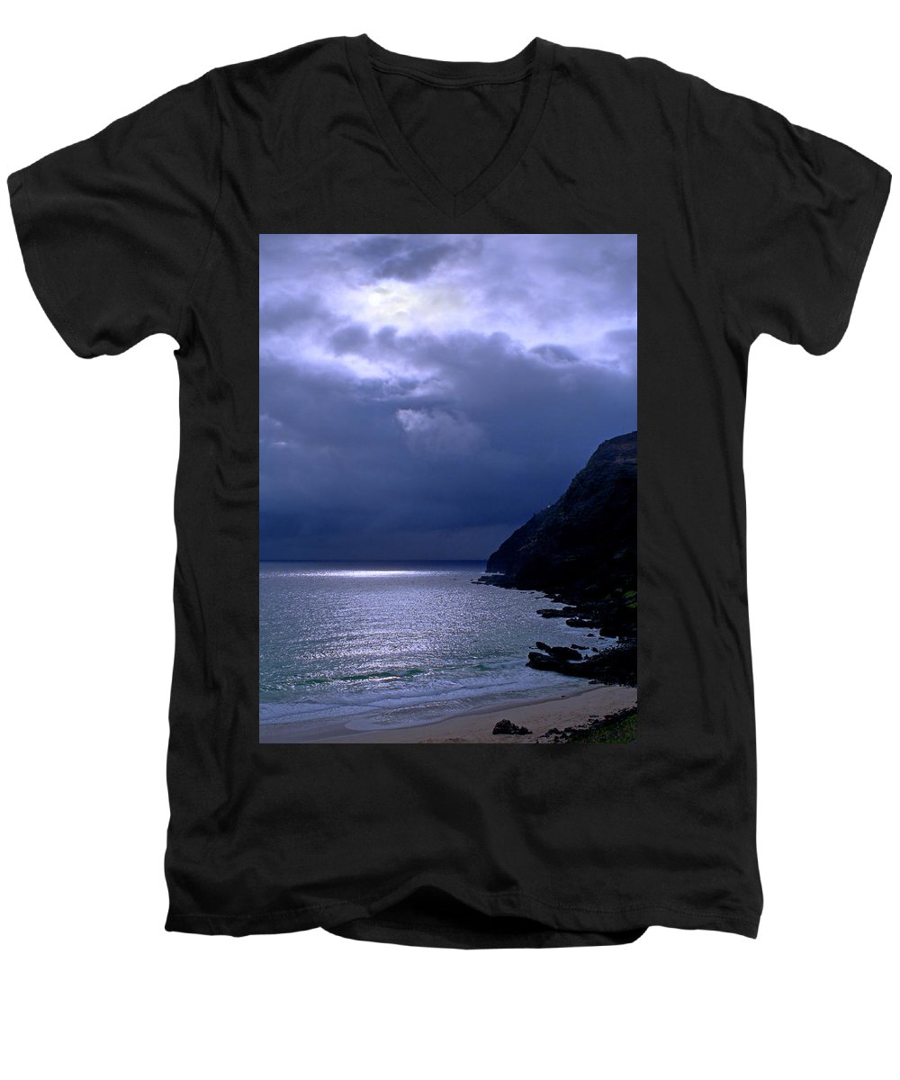 Makapuu Men's V-Neck T-Shirt featuring the photograph Makapuu Moon by Kevin Smith