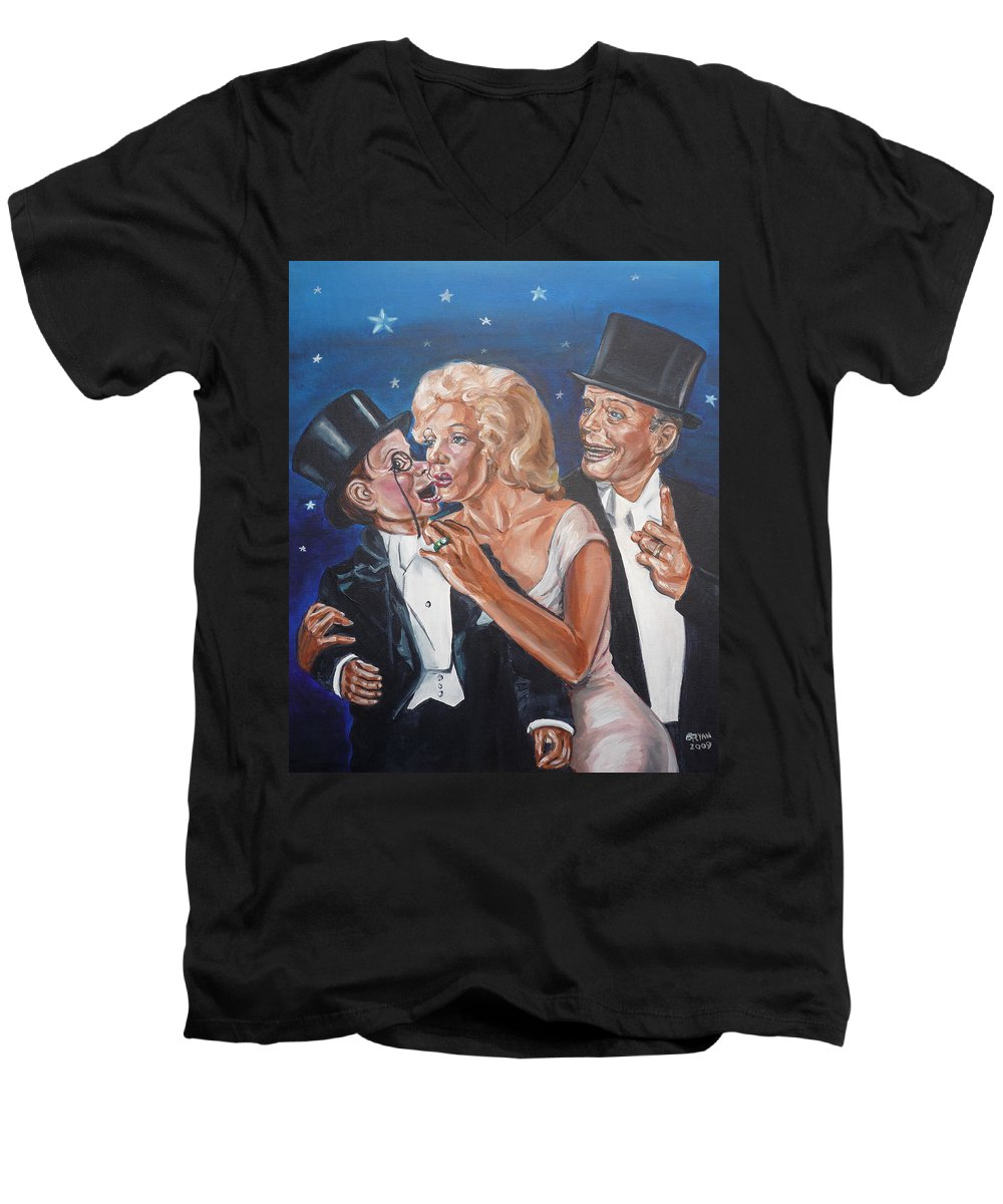 Old Time Radio Men's V-Neck T-Shirt featuring the painting Marilyn Monroe Marries Charlie Mccarthy by Bryan Bustard