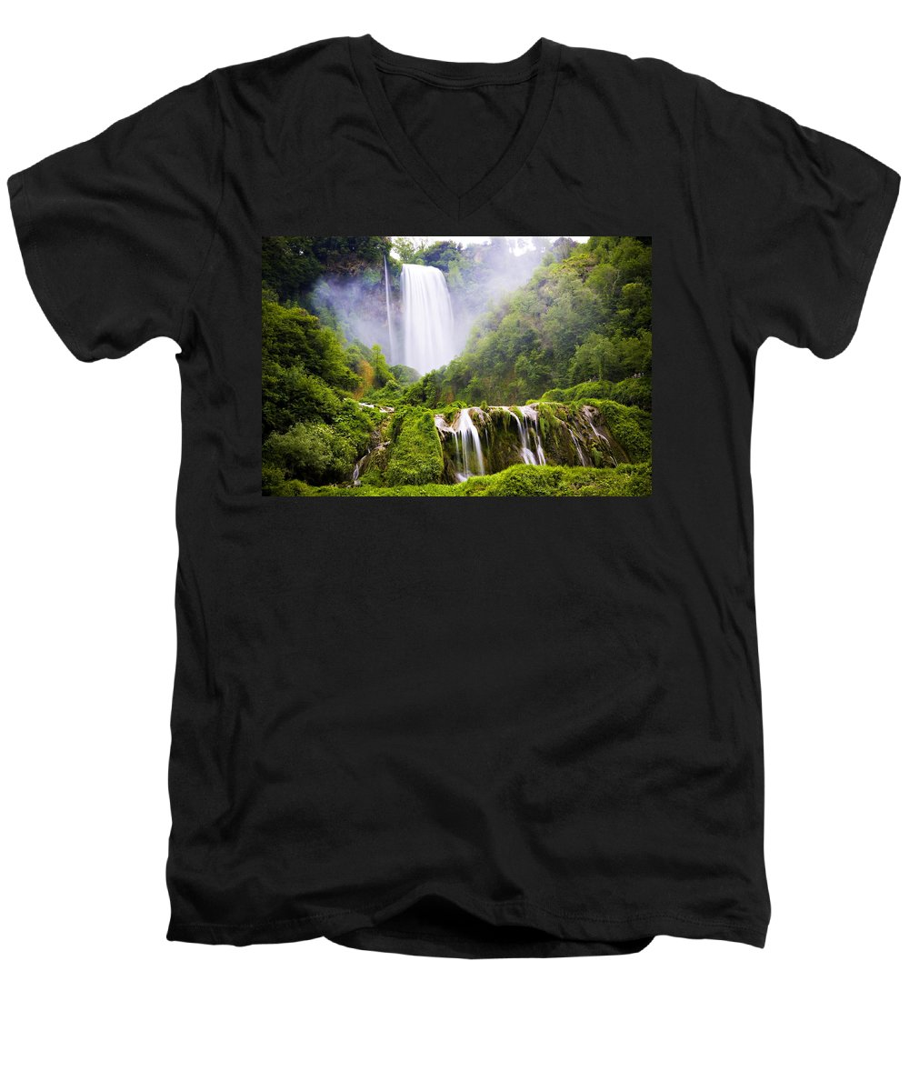 Italy Men's V-Neck T-Shirt featuring the photograph Marmore Waterfalls Italy by Marilyn Hunt