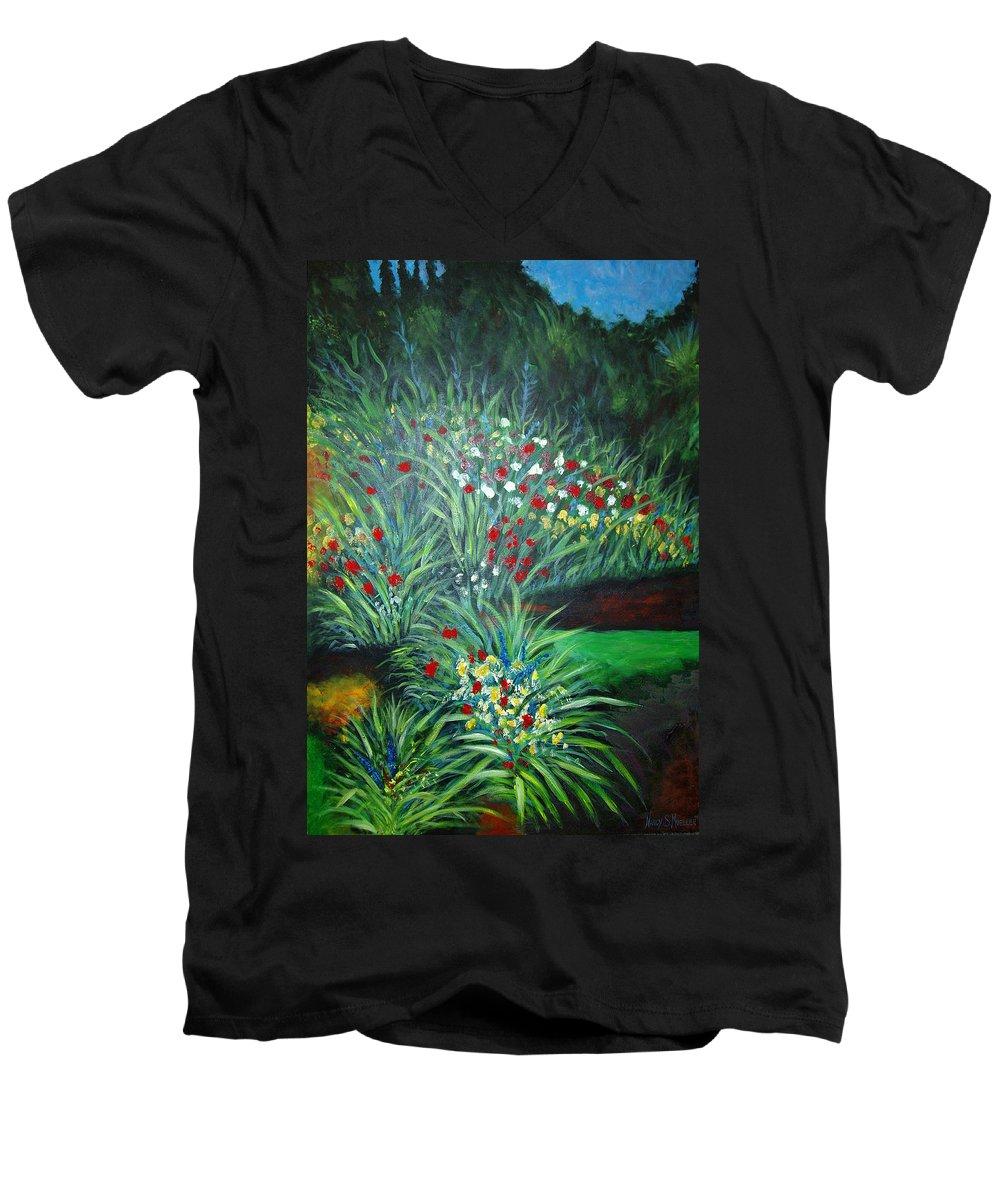 Landscape Men's V-Neck T-Shirt featuring the painting Maryann's Garden 3 by Nancy Mueller