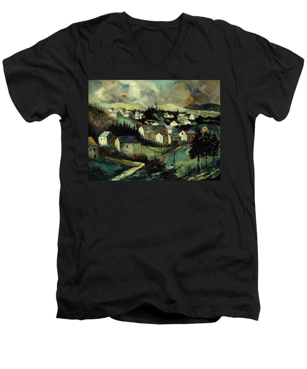 Winter Men's V-Neck T-Shirt featuring the painting Masbourg by Pol Ledent