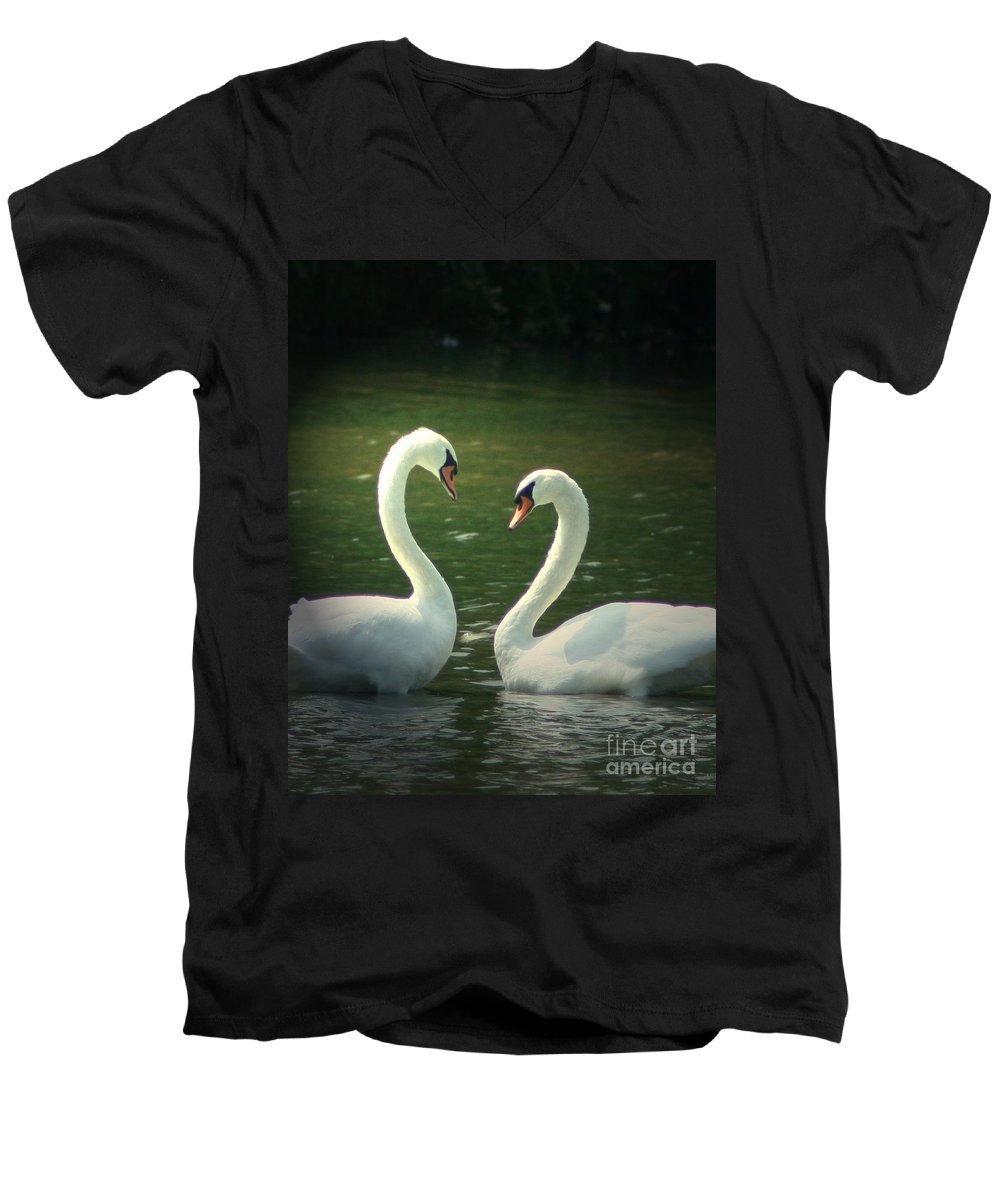 Nature Wildlife Ohio Waterscape Landscape Swans Lake Pond Men's V-Neck T-Shirt featuring the photograph Mates For Life by Dawn Downour