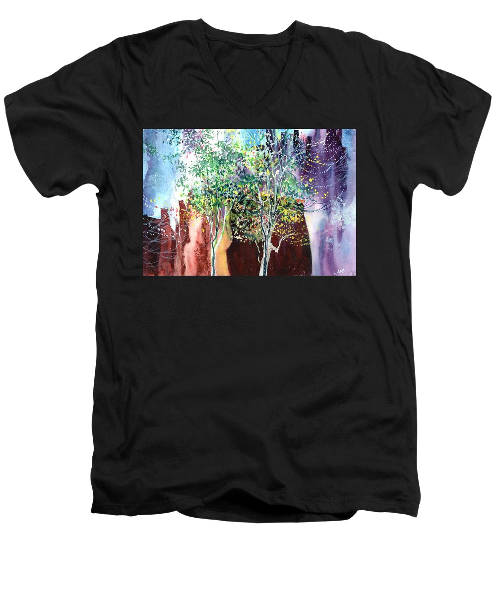 Nature Men's V-Neck T-Shirt featuring the painting Maya by Anil Nene