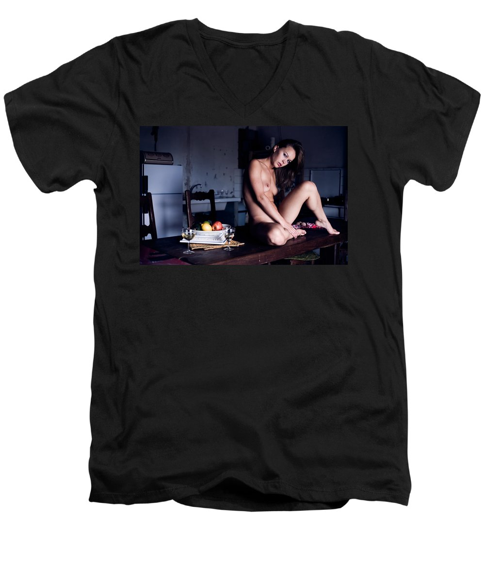 Sensual Men's V-Neck T-Shirt featuring the photograph Maybe Or Maybe Not by Olivier De Rycke