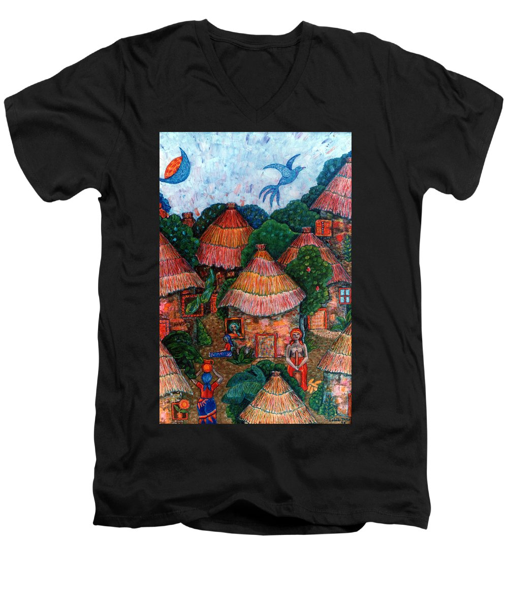 Africa Men's V-Neck T-Shirt featuring the painting Maybe That Was My Country by Madalena Lobao-Tello