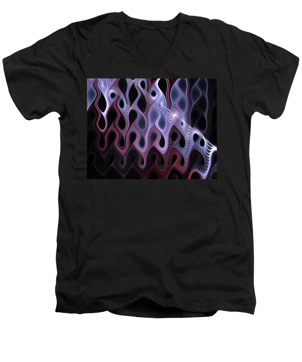 Digital Art Men's V-Neck T-Shirt featuring the digital art Meltdown by Amanda Moore