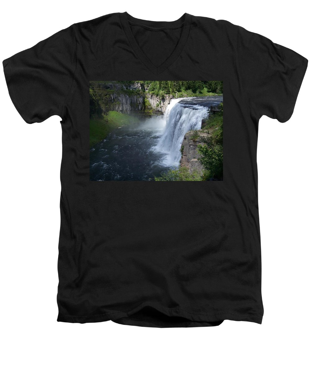 Landscape Men's V-Neck T-Shirt featuring the photograph Mesa Falls by Gale Cochran-Smith