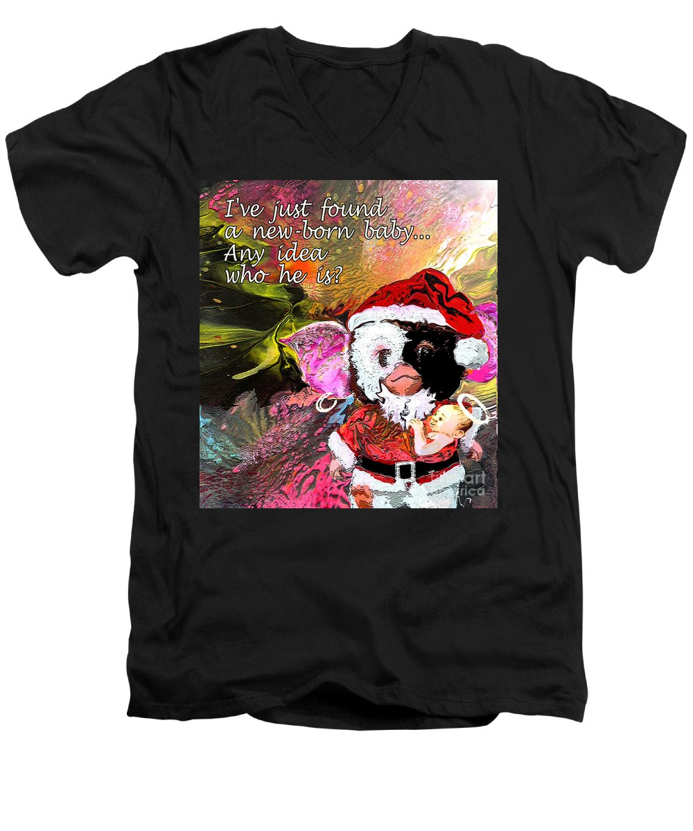 Fantasy Painting Men's V-Neck T-Shirt featuring the painting Messiah Found by Miki De Goodaboom