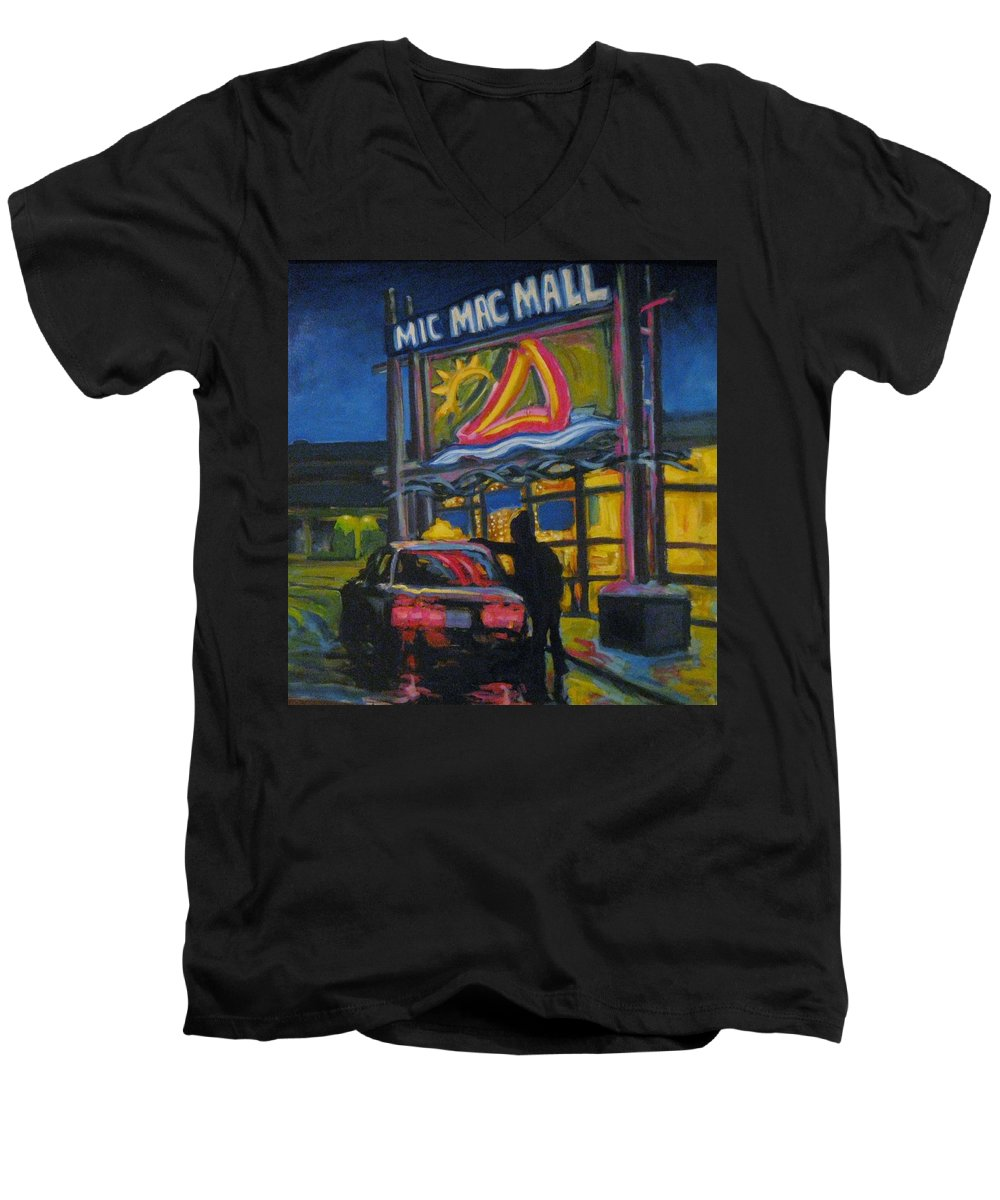 Retail Men's V-Neck T-Shirt featuring the painting Mic Mac Mall Spectre Of The Next Great Depression by John Malone