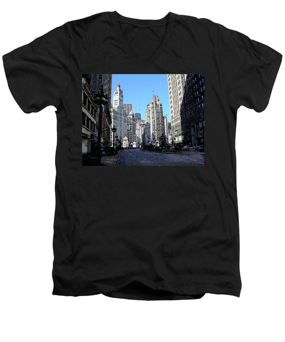 Chicago Men's V-Neck T-Shirt featuring the digital art Michigan Ave Wide by Anita Burgermeister