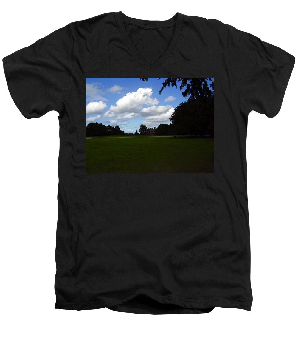 Middleton Place Men's V-Neck T-Shirt featuring the photograph Middleton Place by Flavia Westerwelle