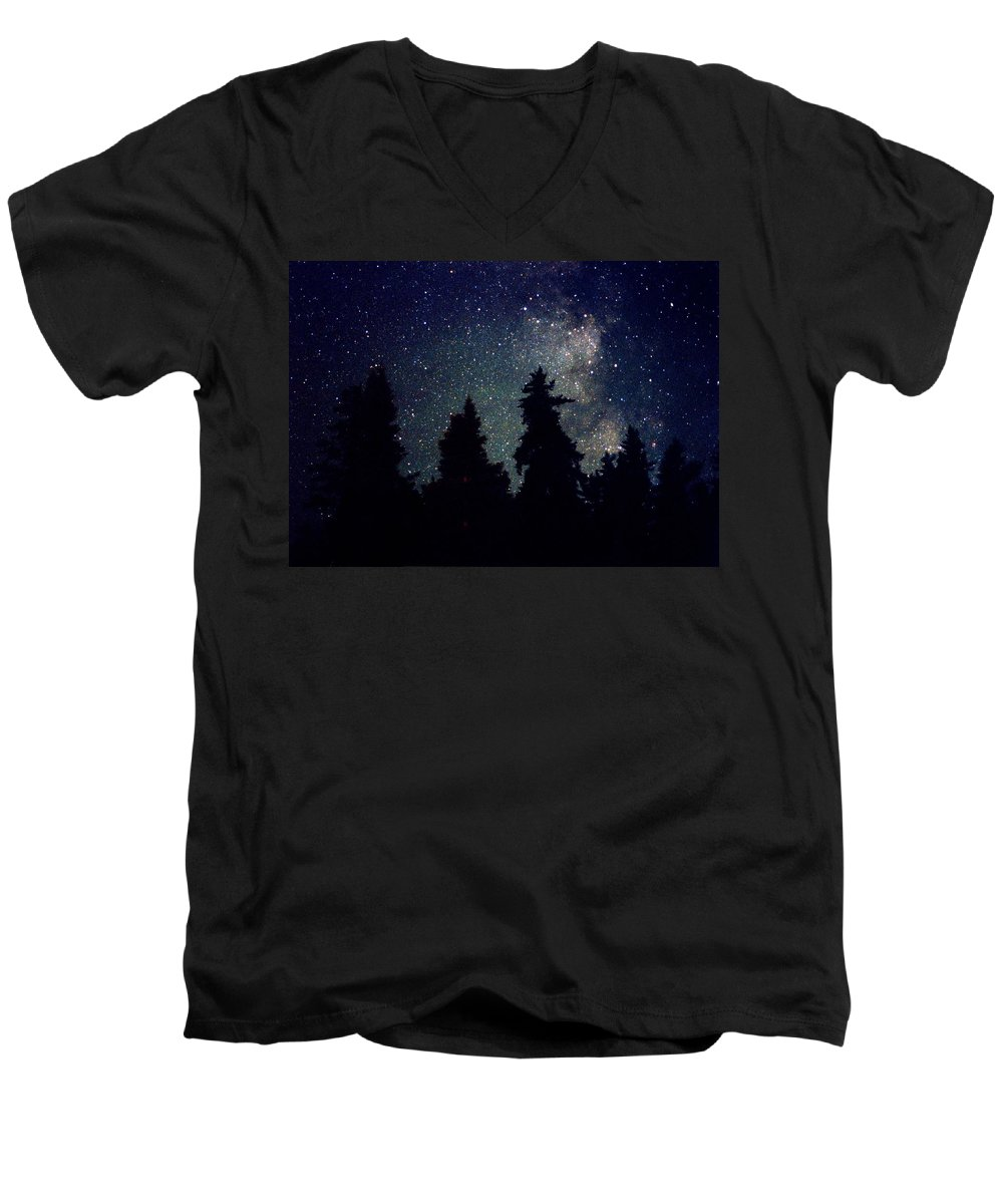 Milky Way Men's V-Neck T-Shirt featuring the photograph Milky Way Above Northern Forest 22 by Lyle Crump