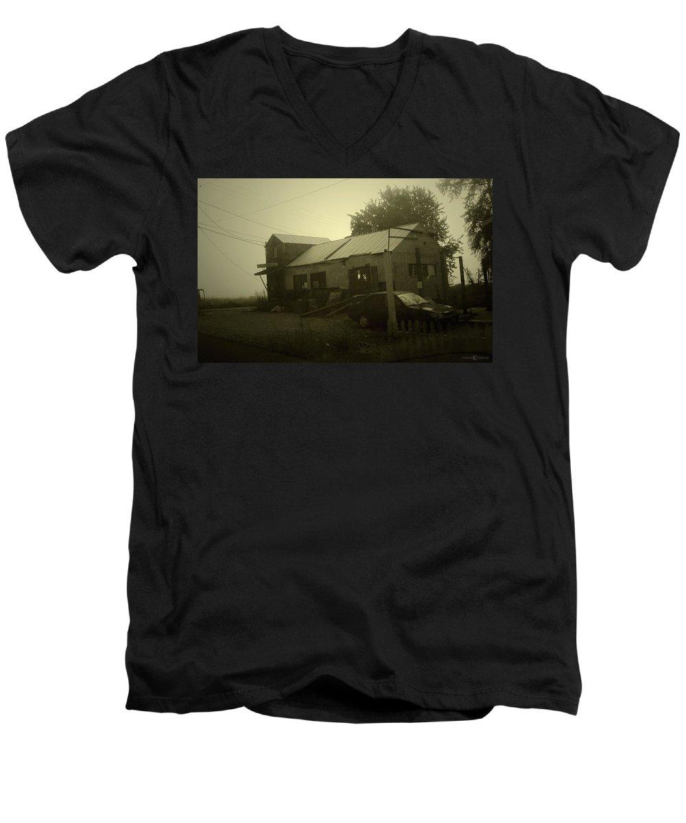 Milltown Men's V-Neck T-Shirt featuring the photograph Milltown Merchantile by Tim Nyberg