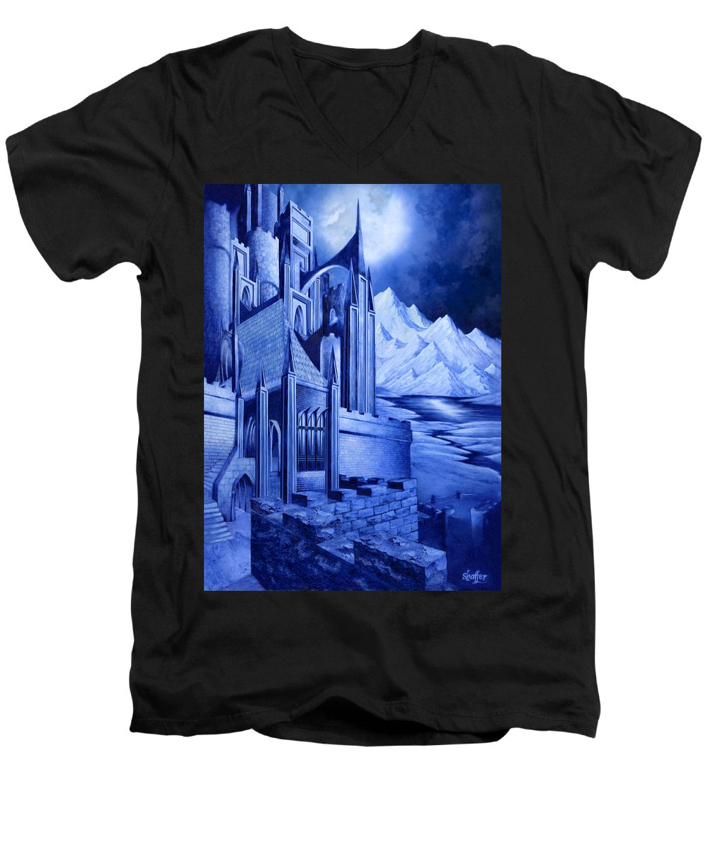 Lord Of The Rings Men's V-Neck T-Shirt featuring the mixed media Minas Tirith by Curtiss Shaffer