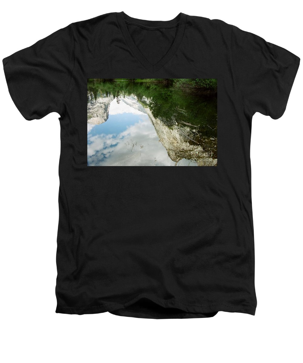 Mirror Lake Men's V-Neck T-Shirt featuring the photograph Mirrored by Kathy McClure