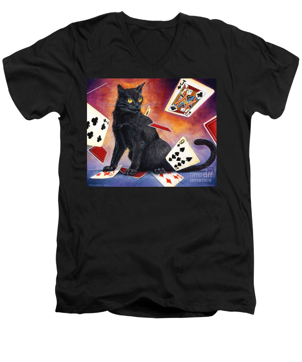 Cat Men's V-Neck T-Shirt featuring the painting Mischief Kitten by Melissa A Benson