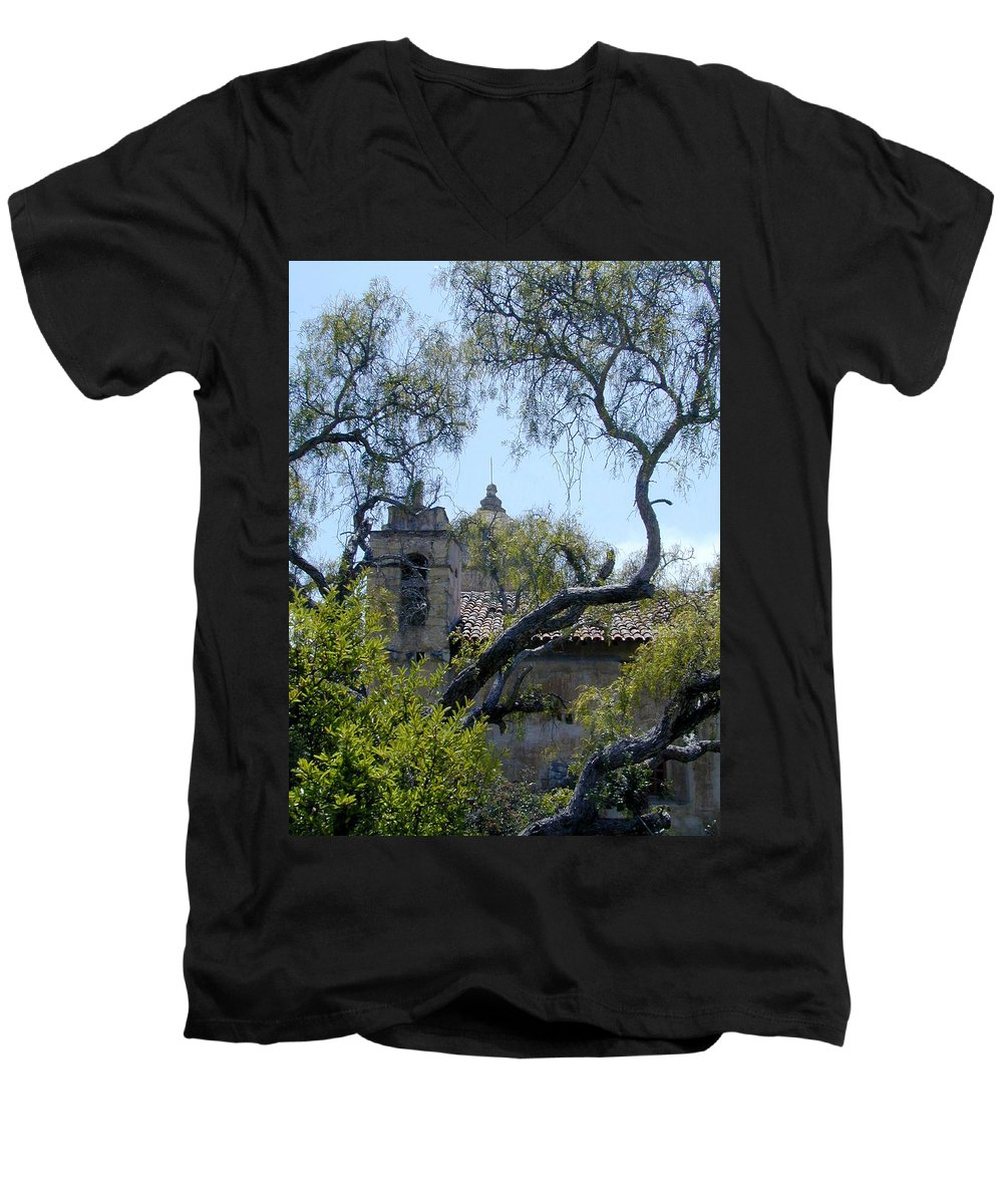 Mission Men's V-Neck T-Shirt featuring the photograph Mission At Carmell by Douglas Barnett