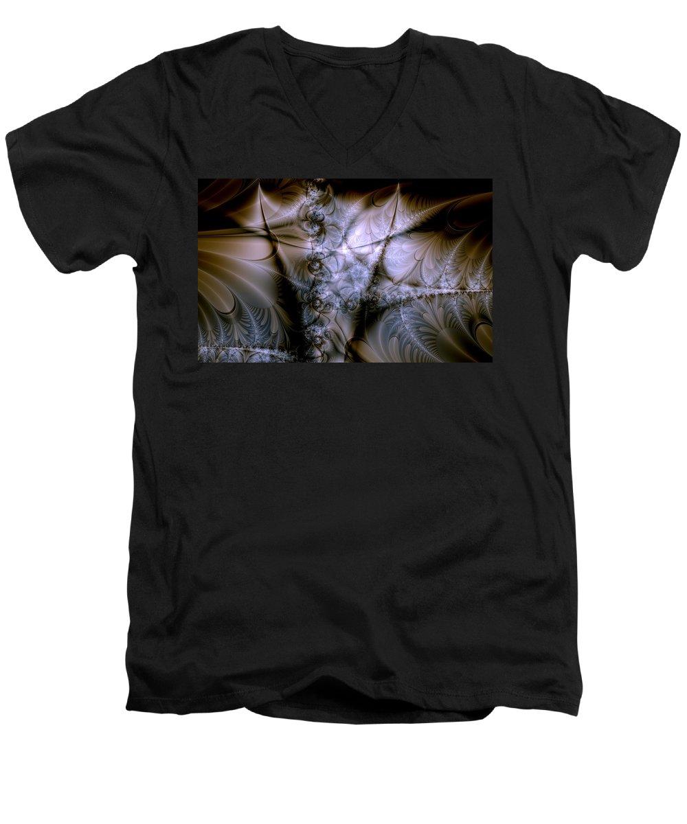 Chocolate Men's V-Neck T-Shirt featuring the digital art Molecular Cacao by Casey Kotas