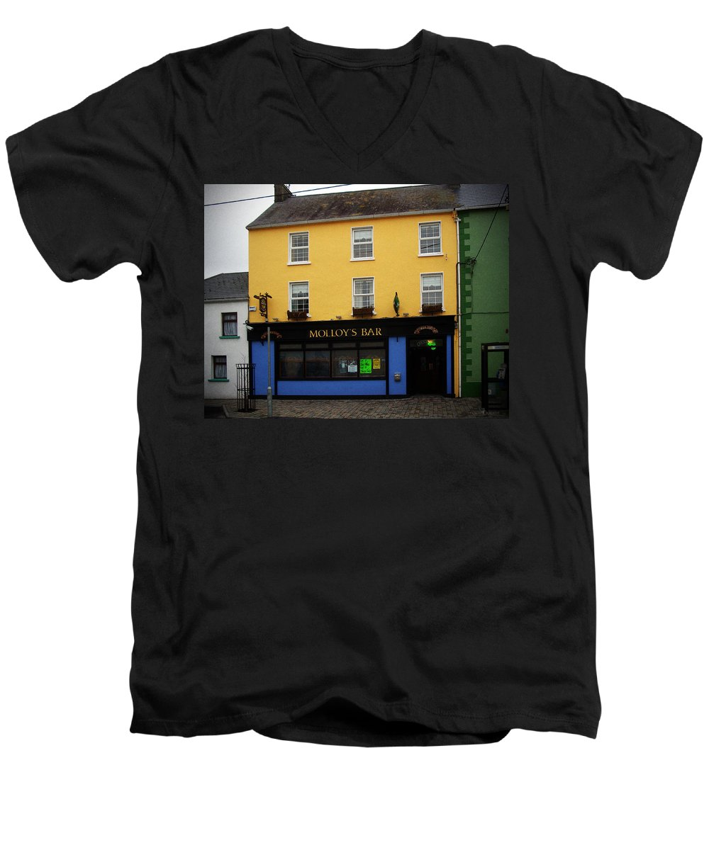 Pub Men's V-Neck T-Shirt featuring the photograph Molloy by Tim Nyberg
