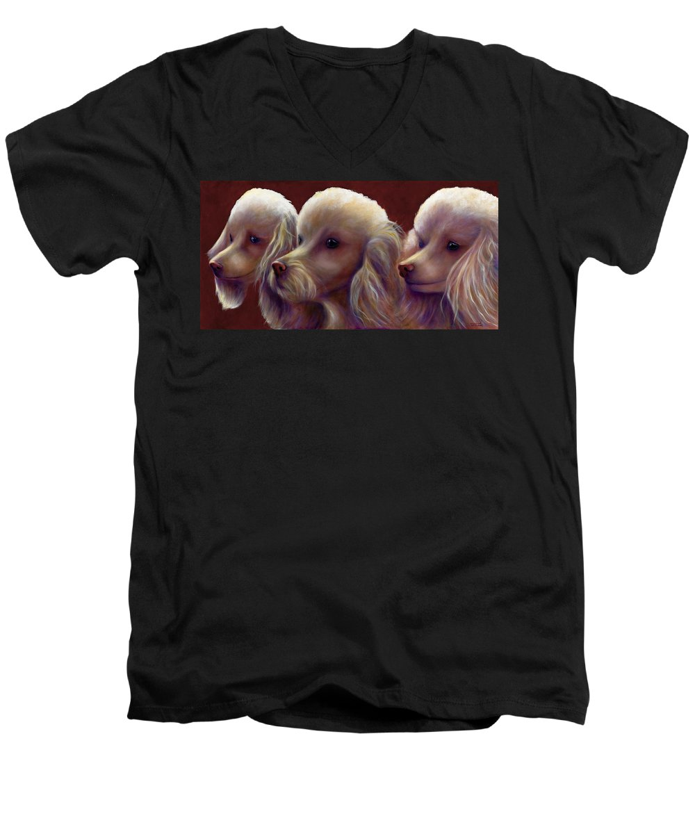 Dogs Men's V-Neck T-Shirt featuring the painting Molly Charlie And Abby by Shannon Grissom