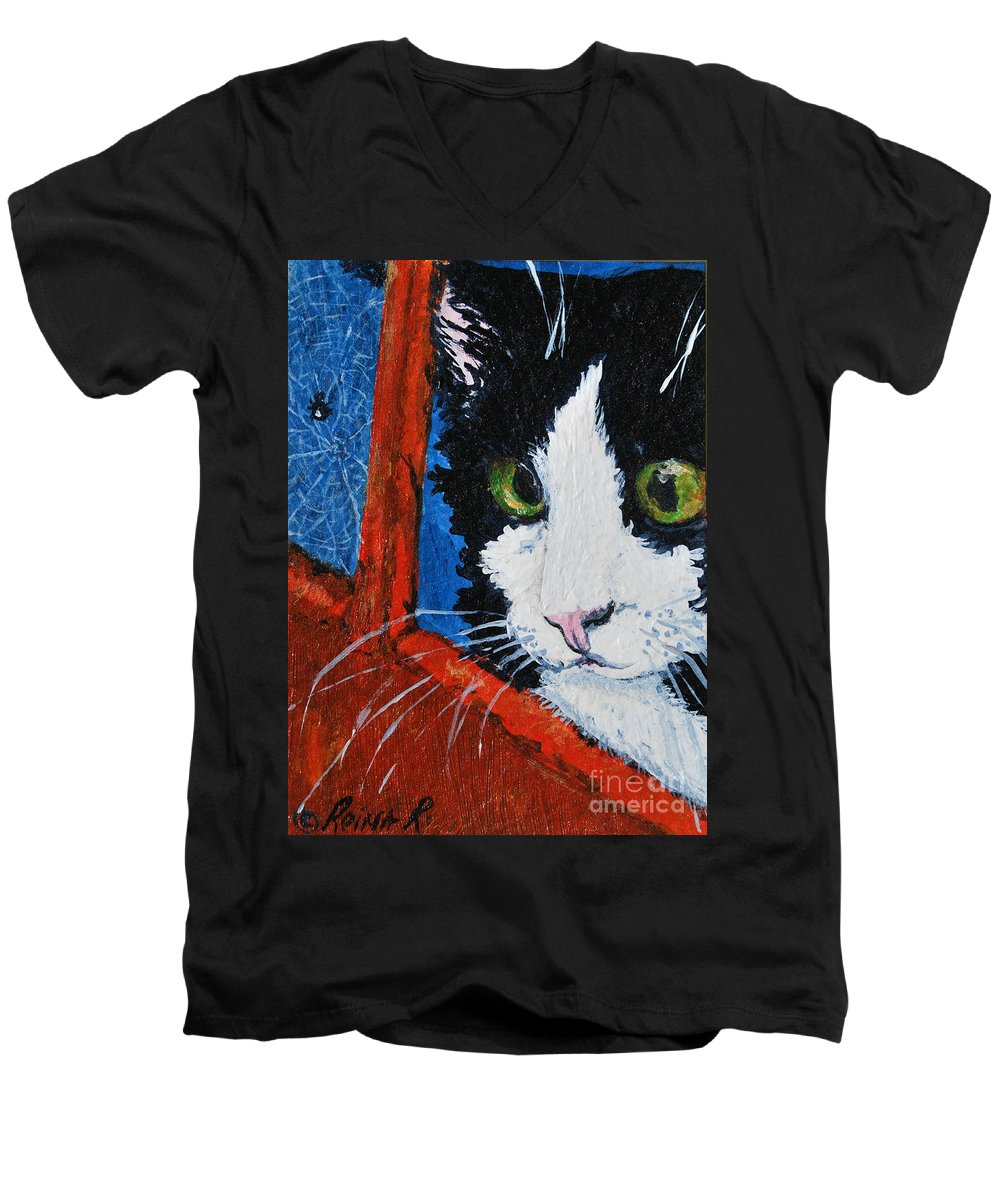 Cat Men's V-Neck T-Shirt featuring the painting Molly by Reina Resto