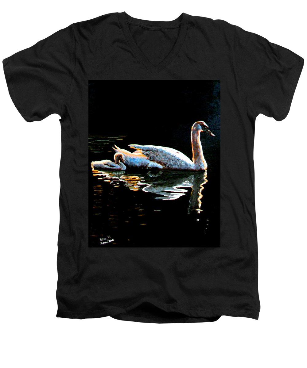 Swan Men's V-Neck T-Shirt featuring the painting Mom And Baby Swan by Stan Hamilton