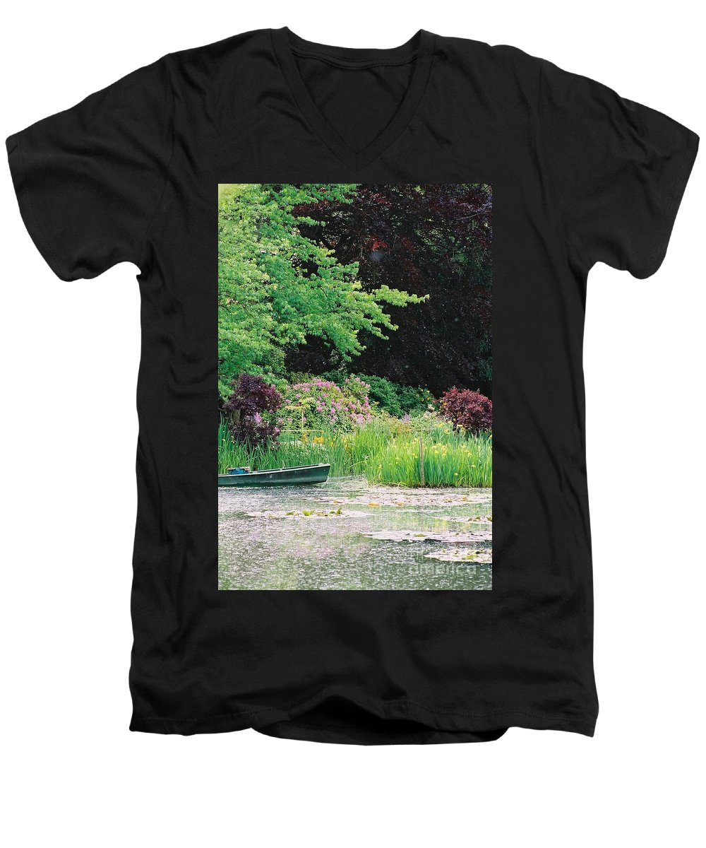 Monet Men's V-Neck T-Shirt featuring the photograph Monet's Garden Pond And Boat by Nadine Rippelmeyer