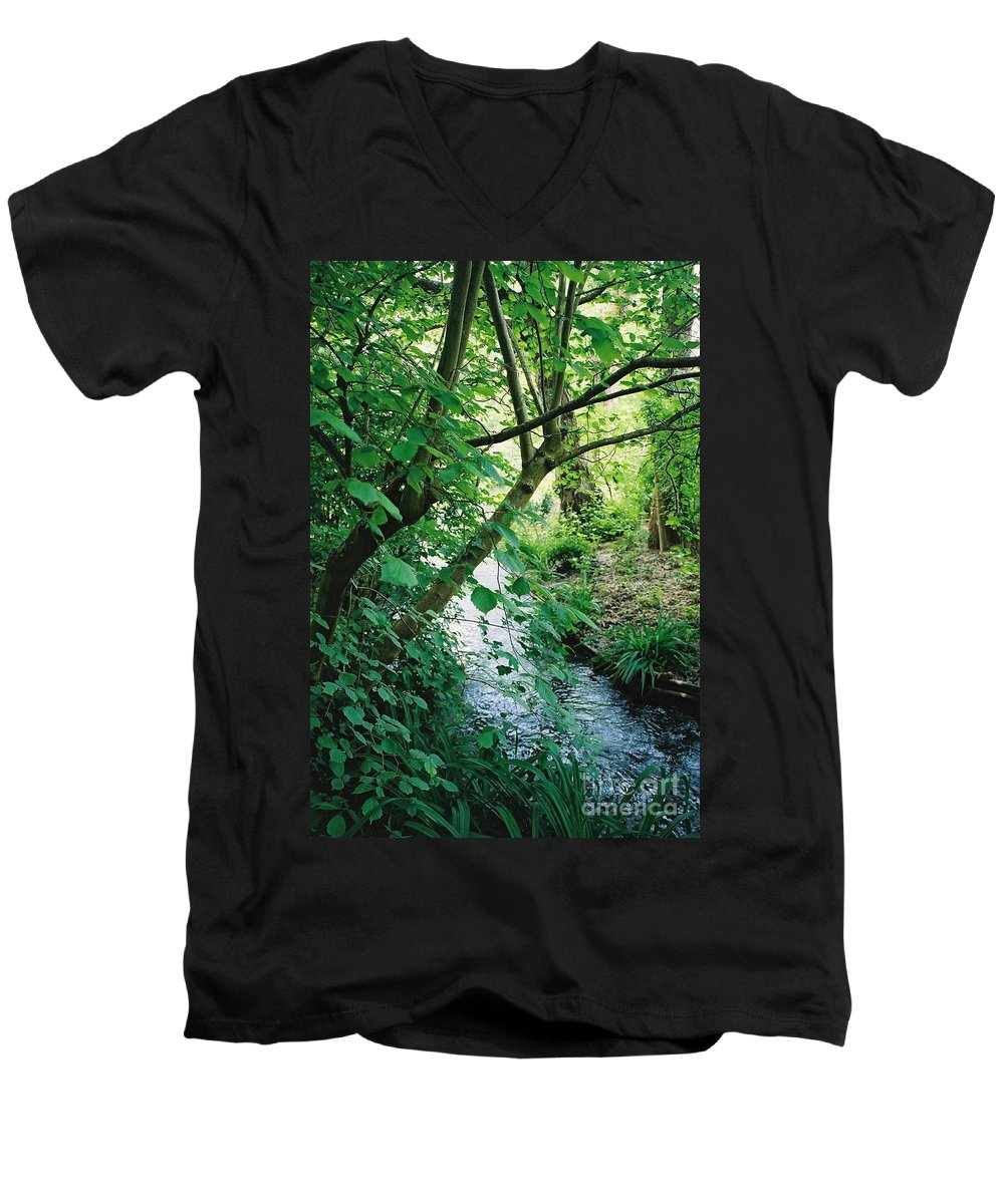 Photography Men's V-Neck T-Shirt featuring the photograph Monet's Garden Stream by Nadine Rippelmeyer