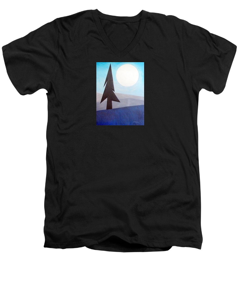 Impressionist Painting Men's V-Neck T-Shirt featuring the painting Moon Rings by J R Seymour
