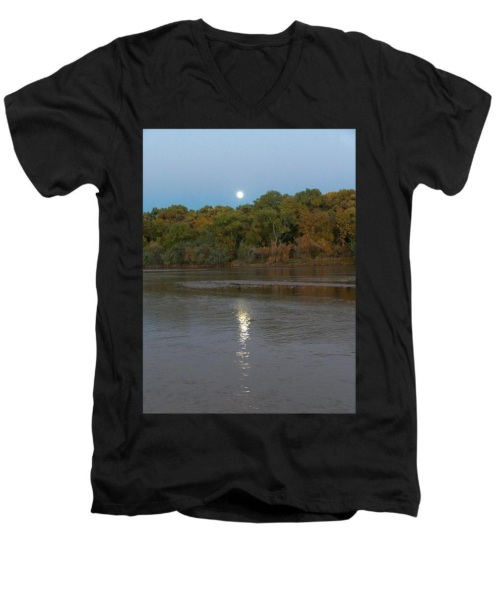 Moonlight Men's V-Neck T-Shirt featuring the photograph Moonlight On The Rio Grande by Tim McCarthy