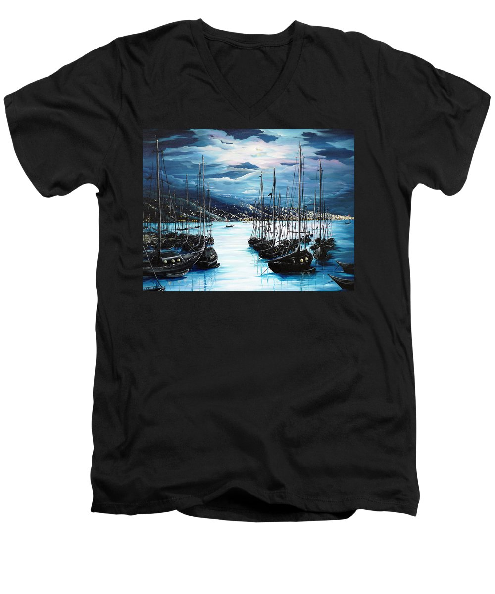 Ocean Painting  Caribbean Seascape Painting Moonlight Painting Yachts Painting Marina Moonlight Port Of Spain Trinidad And Tobago Painting Greeting Card Painting Men's V-Neck T-Shirt featuring the painting Moonlight Over Port Of Spain by Karin Dawn Kelshall- Best