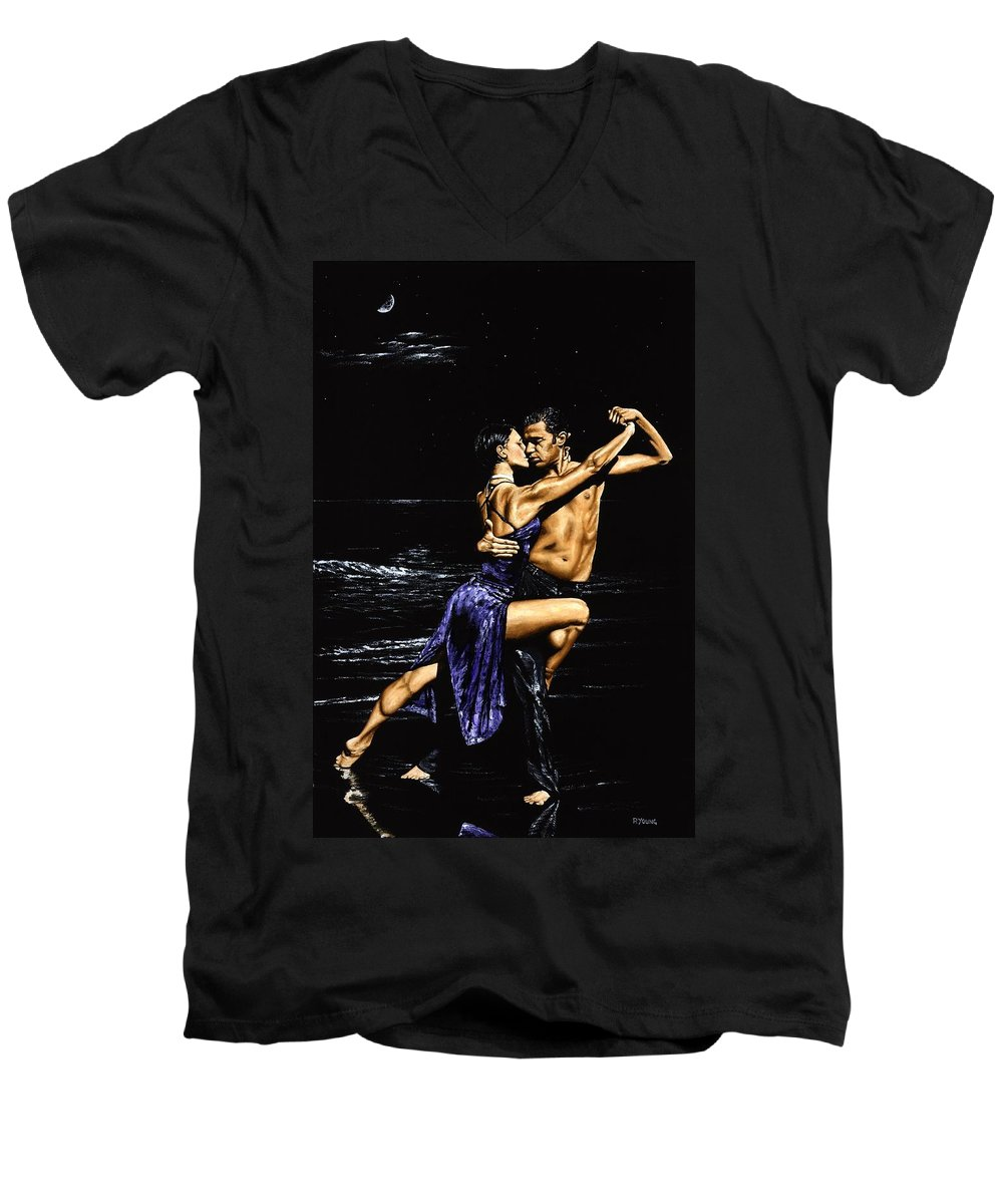 Moonlight Men's V-Neck T-Shirt featuring the painting Moonlight Tango by Richard Young
