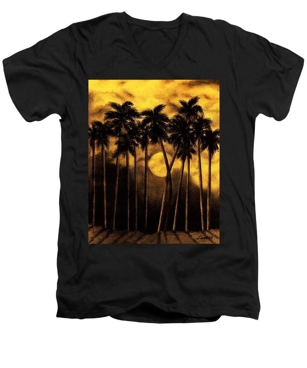 Moonlit Palm Trees In Yellow Men's V-Neck T-Shirt featuring the mixed media Moonlit Palm Trees In Yellow by Larry Lehman