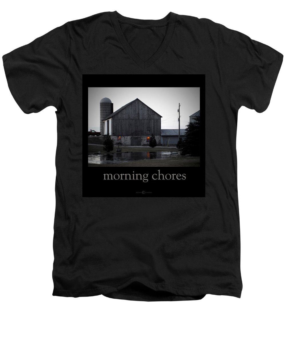 Poster Men's V-Neck T-Shirt featuring the photograph Morning Chores by Tim Nyberg