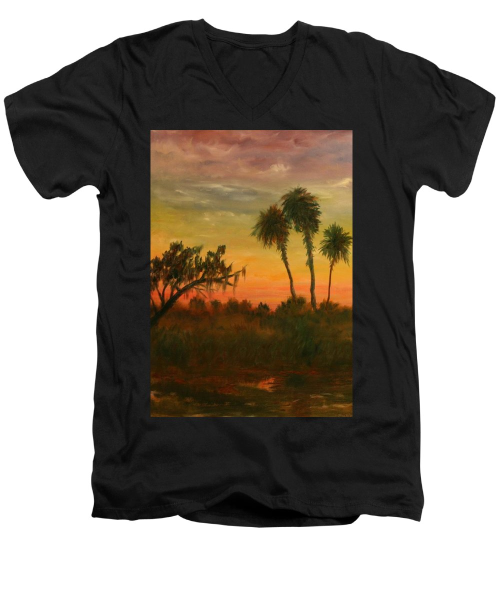 Palm Trees; Tropical; Marsh; Sunrise Men's V-Neck T-Shirt featuring the painting Morning Fog by Ben Kiger