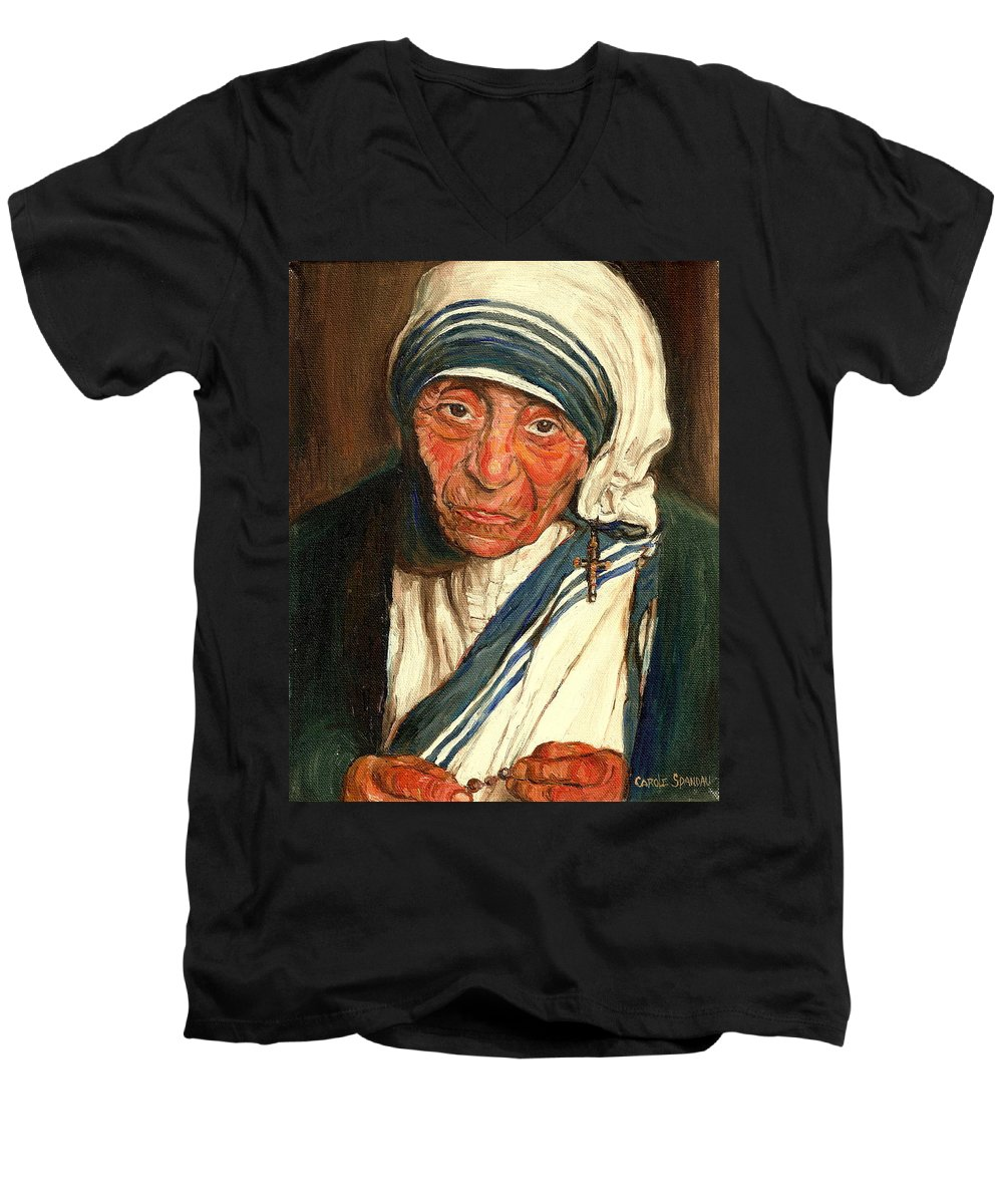 Mother Teresa Men's V-Neck T-Shirt featuring the painting Mother Teresa by Carole Spandau