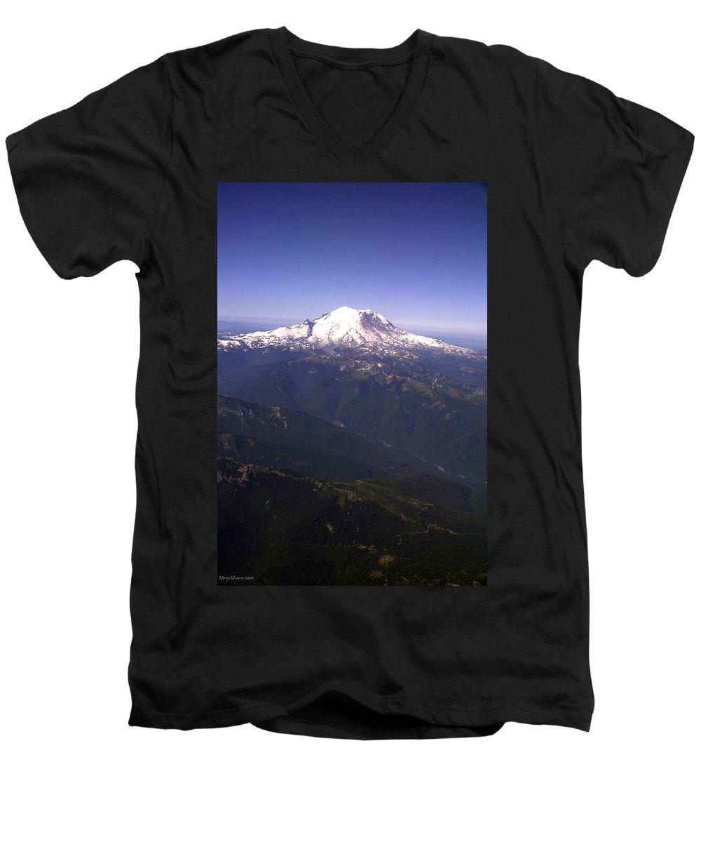 Mount Rainier Men's V-Neck T-Shirt featuring the photograph Mount Rainier Washington State by Merja Waters