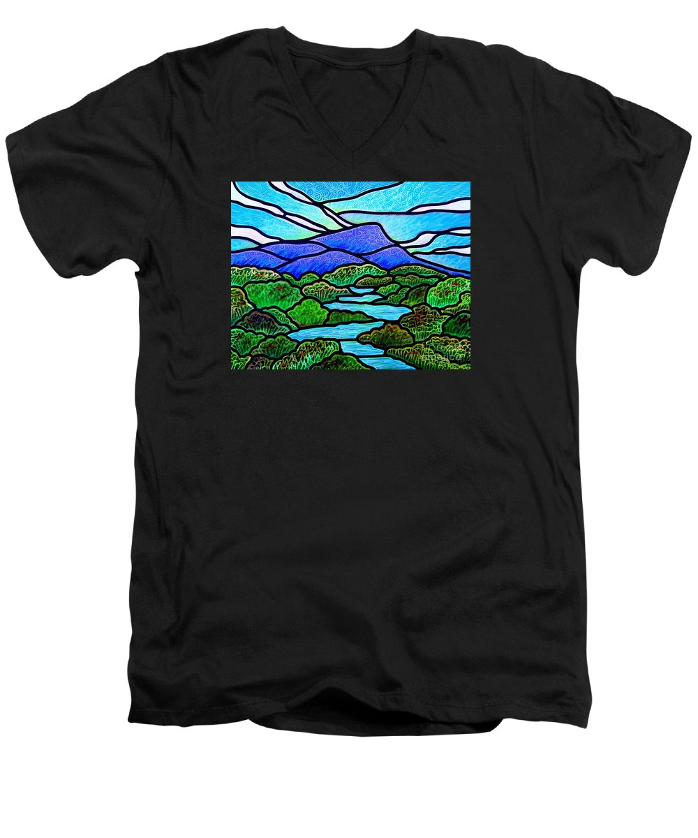 Paintings Men's V-Neck T-Shirt featuring the painting Mountain Glory by Jim Harris