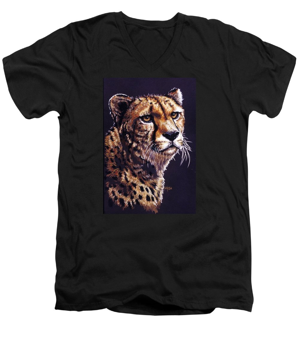 Cheetah Men's V-Neck T-Shirt featuring the drawing Movin On by Barbara Keith
