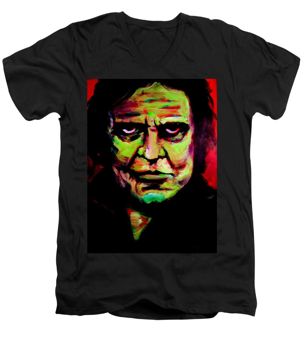 Portrait Men's V-Neck T-Shirt featuring the painting Mr. Cash by Jason Reinhardt